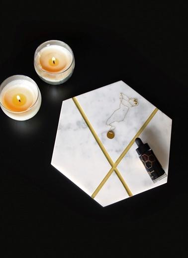 Gold X Altıgen Sunum Tabağı-Marble&Etc.